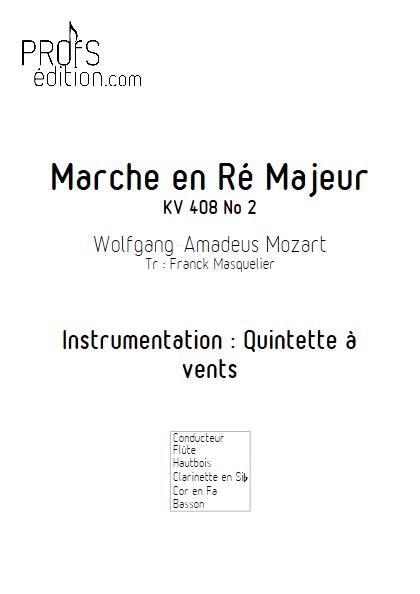 Marche KV 408 n°2 - Quintette à vents - MOZART W. A. - page de garde