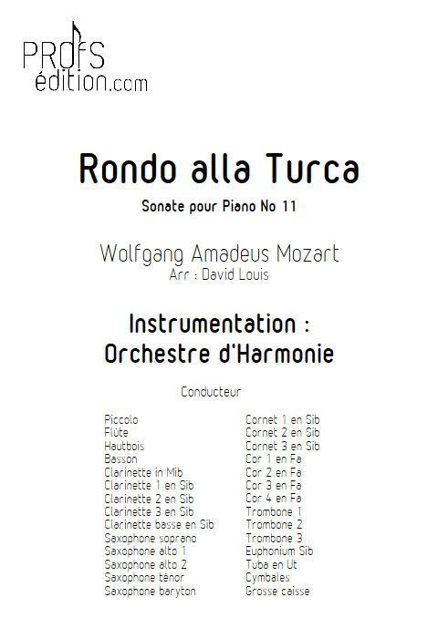 Rondo alla Turca - Orchestre d'Harmonie - MOZART W. A. - page de garde