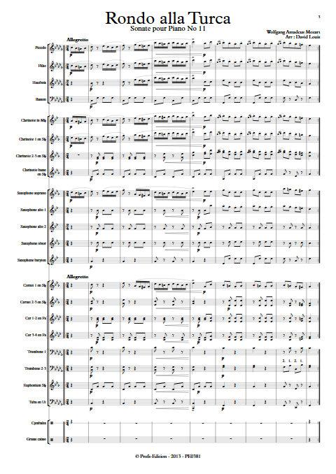 Rondo alla Turca - Orchestre d'Harmonie - MOZART W. A. - Partition