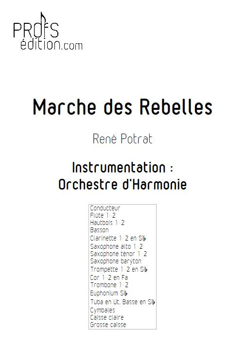 Marche des Rebelles - Orchestre d'Harmonie - POTRAT R. - page de garde