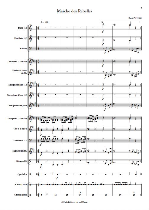 Marche des Rebelles - Orchestre d'Harmonie - POTRAT R. - Partition