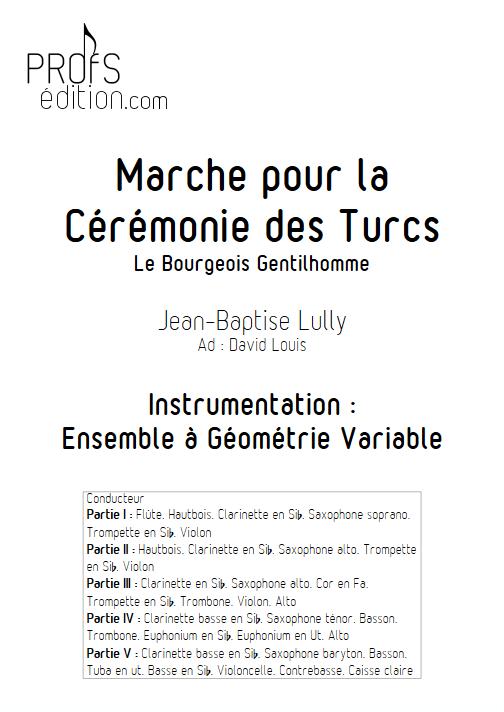 Marche pour la cérémonie des turcs - Ensemble à Géométrie Variable - LULLY J-B - page de garde