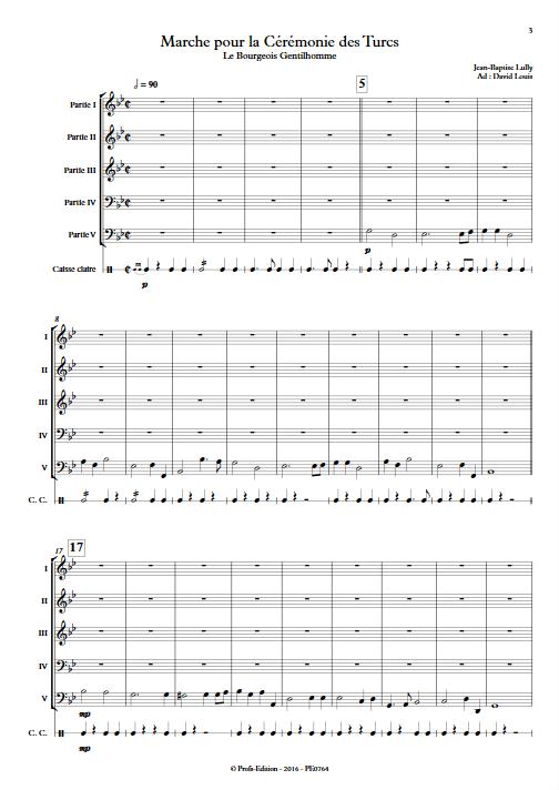 Marche pour la cérémonie des turcs - Ensemble à Géométrie Variable - LULLY J-B - Partition