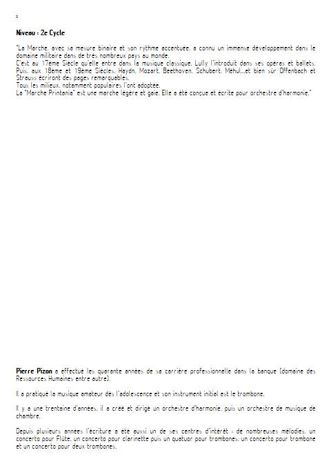 Marche Printania - Orchestre d'Harmonie - PIZON P. - Fiche Pédagogique