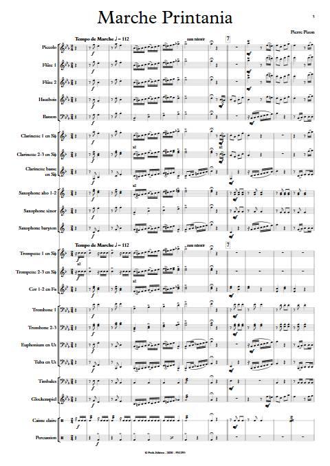 Marche Printania - Orchestre d'Harmonie - PIZON P. - app.scorescoreTitle