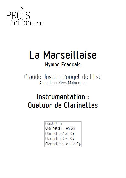 La Marseillaise - Quatuor de Clarinettes - ROUGET DE LISLE C. J. - page de garde