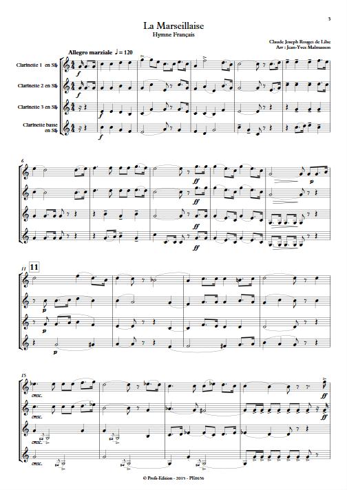 La Marseillaise - Quatuor de Clarinettes - ROUGET DE LISLE C. J. - Partition