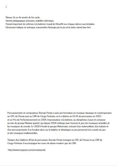 Mascarade - Duo Percussions - R. PERDA - page de garde