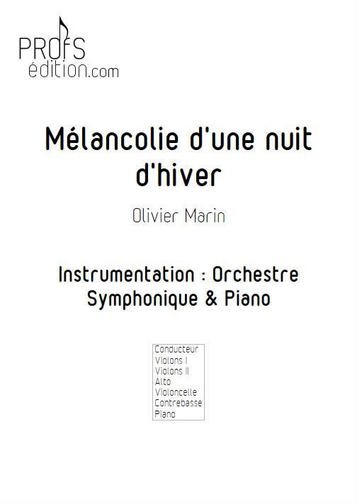 Mélancolie - Orchestre Symphonique & Piano - MARIN O. - page de garde