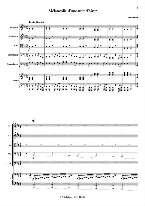 Mélancolie - Orchestre Symphonique & Piano - MARIN O. - Partition