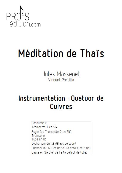 Méditation de Thaïs - Quatuor de Cuivres - MASSENET J. - page de garde