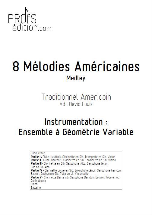 8 Mélodies Américaines - Ensemble à Géométrie Variable - TRADITIONNEL AMERICAIN - page de garde