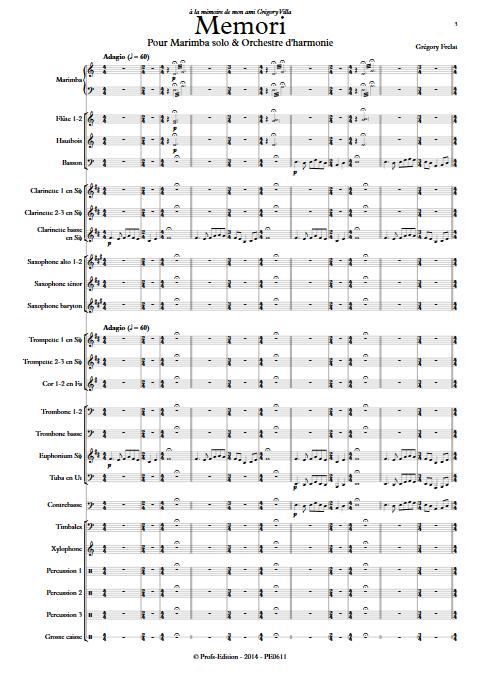 Memori - Marimba et Orchestre d'Harmonie - FRELAT G. - app.scorescoreTitle