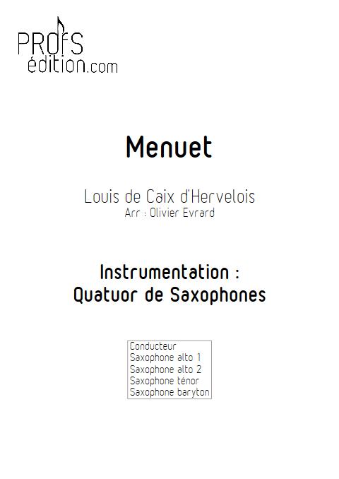 Menuet - Quatuor de Saxophones - d'HERVELOIS Louis de Caix - page de garde