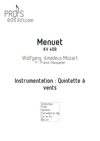 Menuet KV 409 - Quintette à vents - MOZART W. A. - page de garde