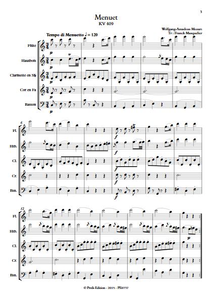 Menuet KV 409 - Quintette à vents - MOZART W. A. - Partition