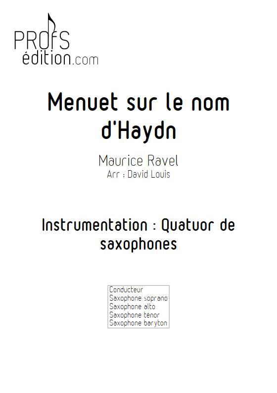 Menuet sur le nom d'Haydn - Quatuor de Saxophones - RAVEL M. - page de garde