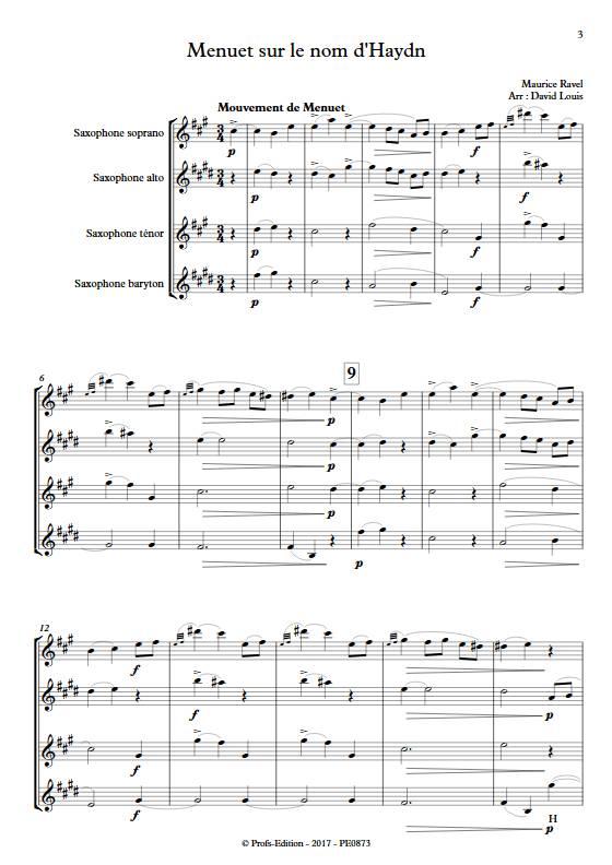 Menuet sur le nom d'Haydn - Quatuor de Saxophones - RAVEL M. - Partition