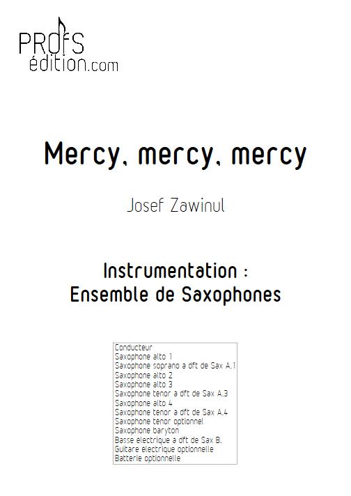 Mercy Mercy Mercy - Ensemble de Saxophones - ZAWINUL J. - page de garde