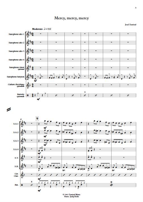 Mercy Mercy Mercy - Ensemble de Saxophones - ZAWINUL J. - Partition