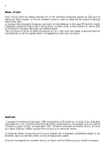 Merry go round of life (Le chateau ambulant) - Ensemble Variable - HISAISHI J. - Fiche Pédagogique