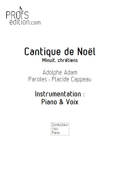 Minuit Chrétien - Piano Voix - ADAM A. - page de garde