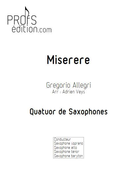 Miserere - Quatuor de Saxophones - ALLEGRI G. - page de garde