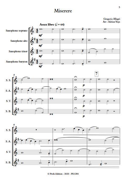 Miserere - Quatuor de Saxophones - ALLEGRI G. - Partition