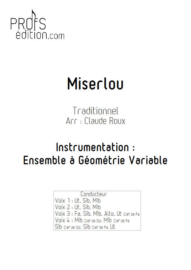 Misirlou (Pulp Fiction) - Ensemble à Géométrie Variable - TRADITIONNEL - page de garde