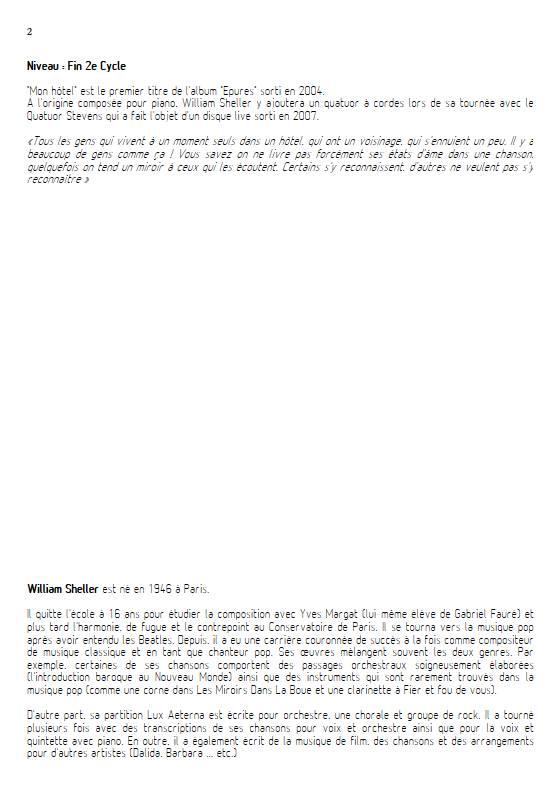 Mon Hôtel - Voix & Quintette à cordes - SHELLER W. - Fiche Pédagogique