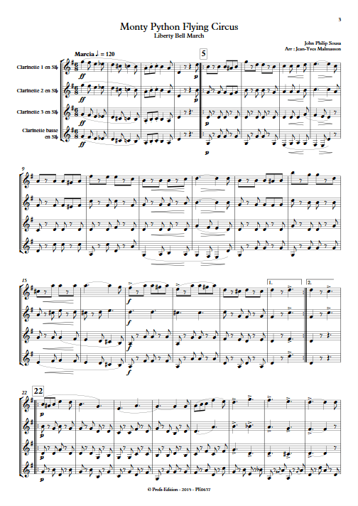 Monty Python Flying Circus - Liberty Bell - Ensemble de Clarinettes - SOUSA P. S. - app.scorescoreTitle