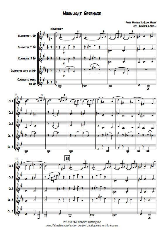 Moonlight Serenade - Quintette de Clarinettes - MILLER G. - Fiche Pédagogique