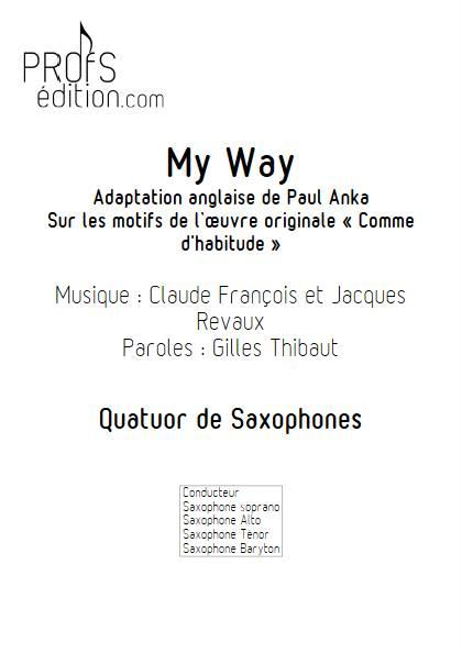 My Way - Quatuor de Saxophones - FRANCOIS C. - page de garde