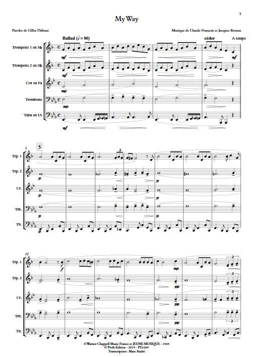 My way (Comme d'habitude) - Quintette de Cuivres - FRANÇOIS C. - app.scorescoreTitle