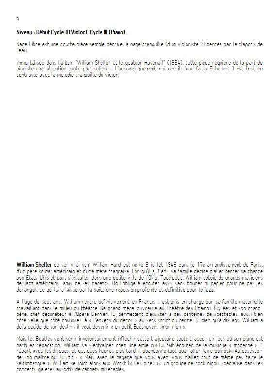 Nage libre - Violon & Piano - SHELLER W. - Fiche Pédagogique