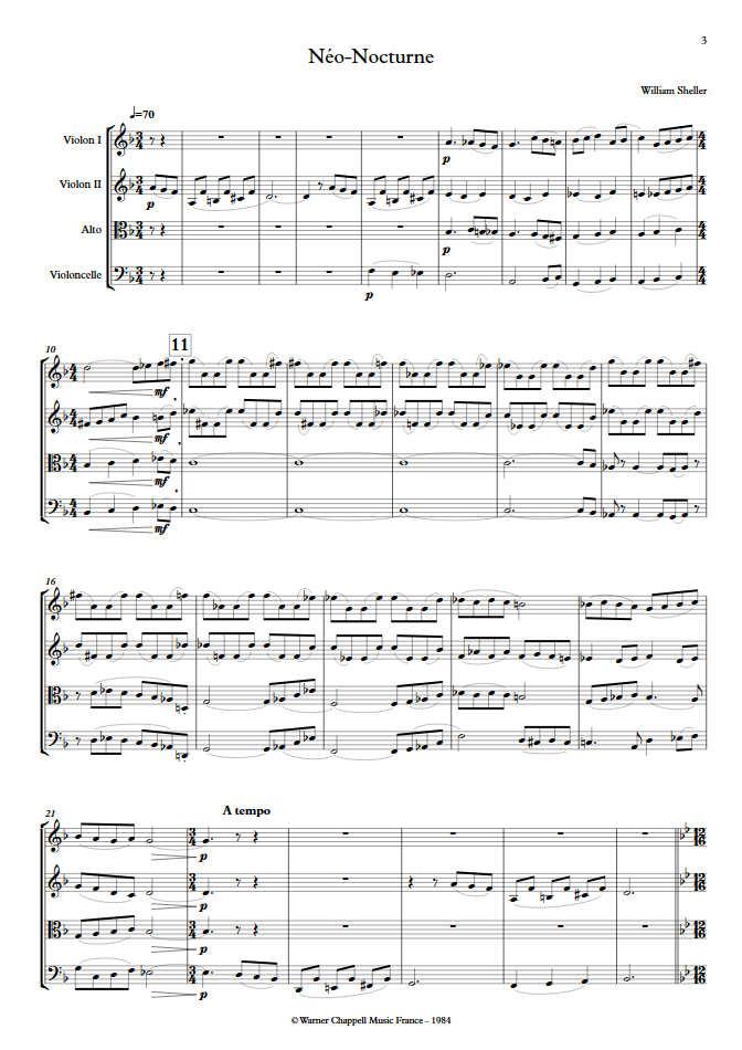 Néo Nocturne - Quatuor à Cordes - SHELLER W. - Partition