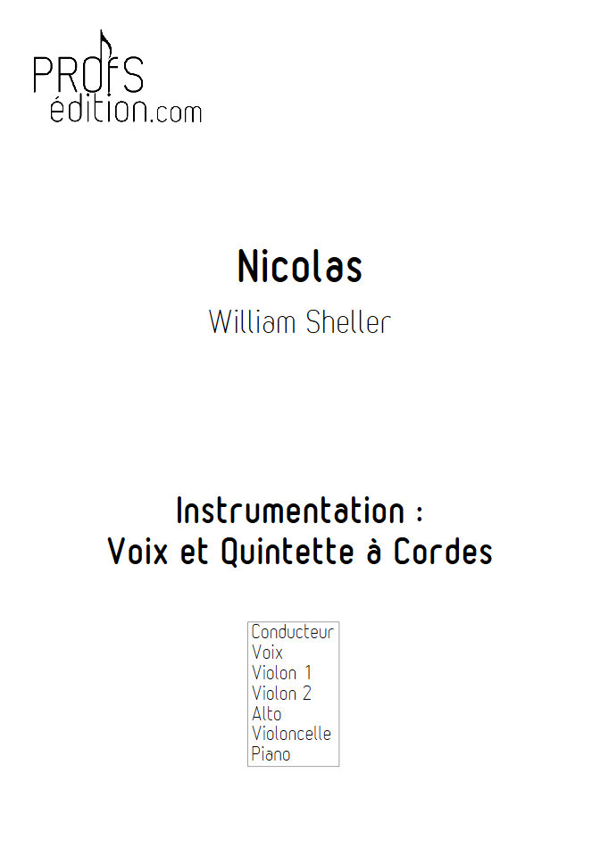 Nicolas - Chant et Quintette à Cordes - SHELLER W. - page de garde