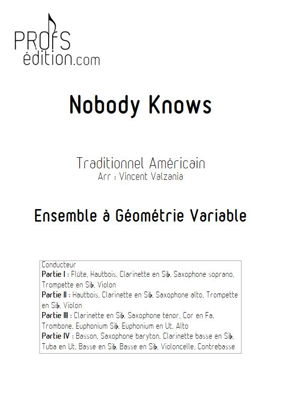 Nobody knows - Ensemble Variable - TRADITIONNEL AMERICAIN - page de garde