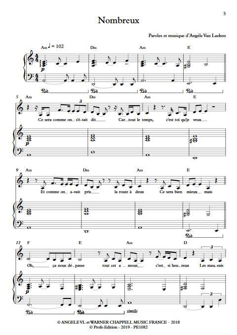 Nombreux - Piano Voix - ANGELE - app.scorescoreTitle