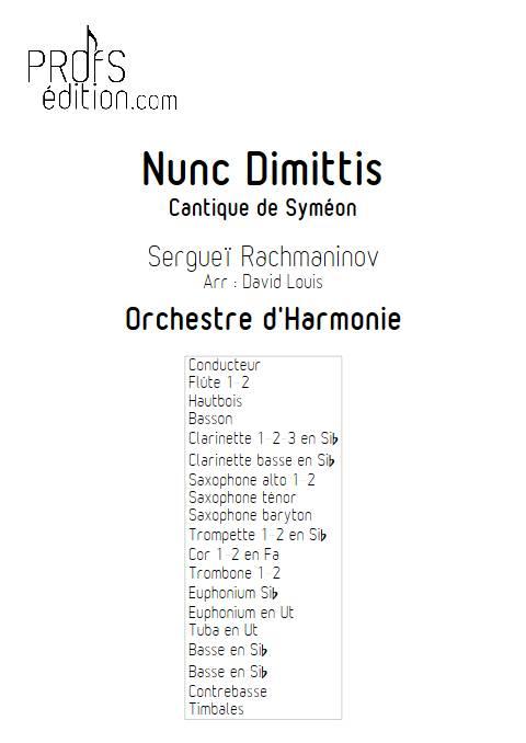 Nunc dimittis - Orchestre d'Harmonie - RACHMANINOV S. - page de garde