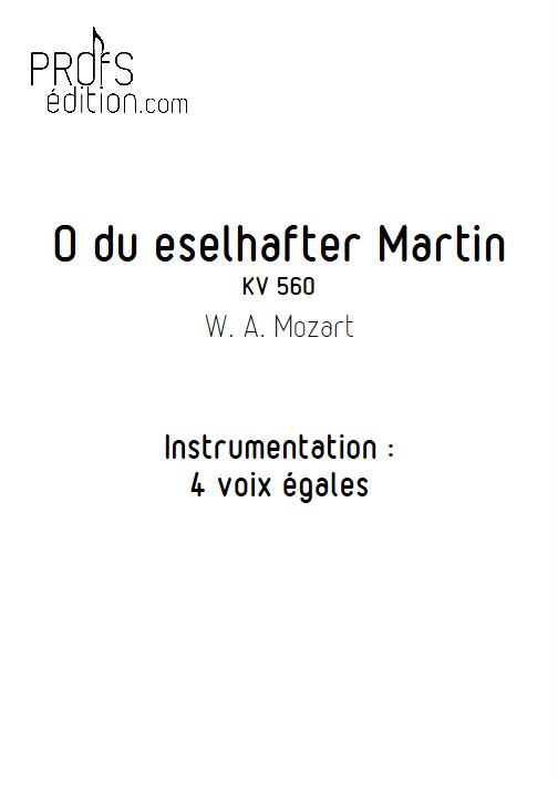 O du eselhafter (Martin qui bat Martine) - 4 voix égales - MOZART W. A. - page de garde