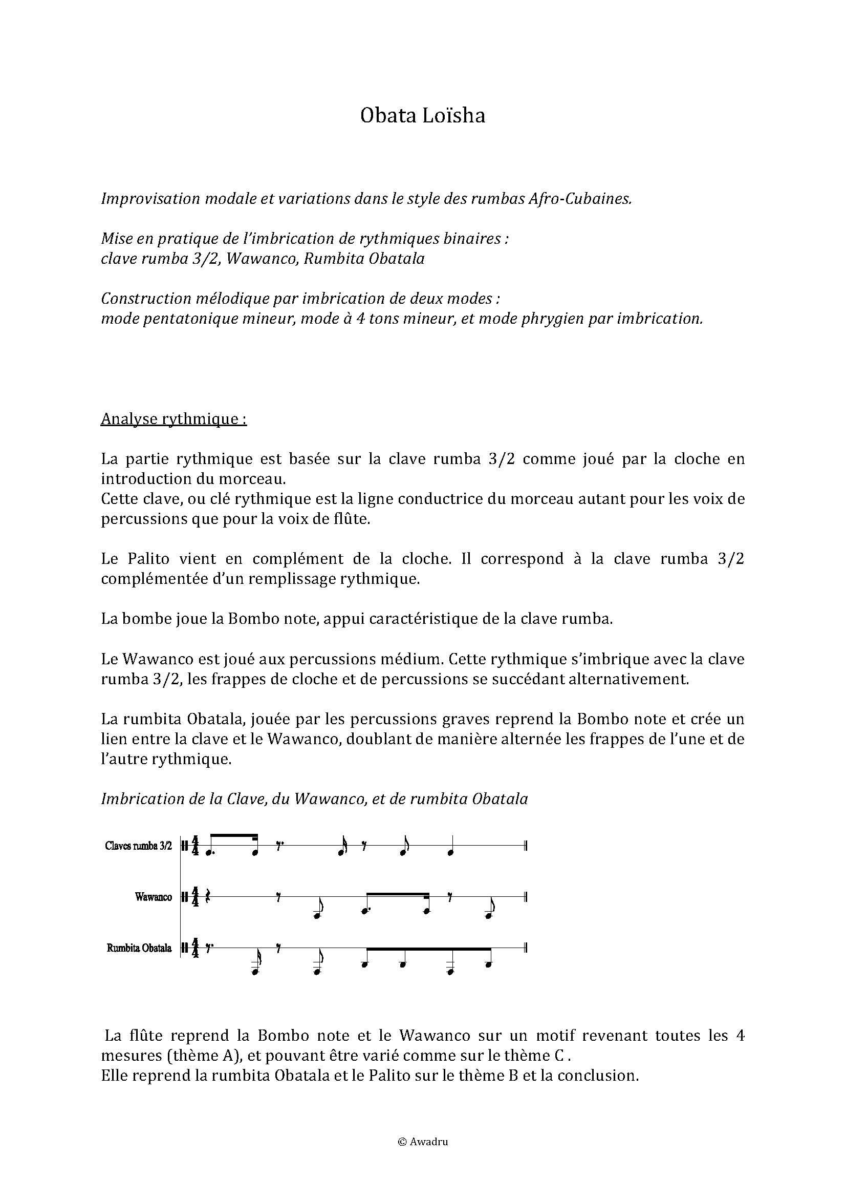 Obata Loïsha - Quatuor Flûte Percussions - LEDROIT F. - Fiche Pédagogique