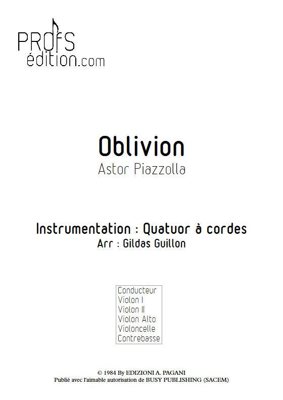 Oblivion - Quatuor à Cordes - PIAZZOLLA A. - page de garde