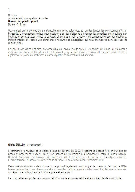 Oblivion - Quatuor à Cordes - PIAZZOLLA A. - Fiche Pédagogique