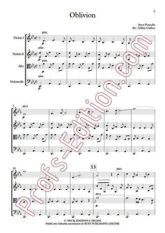 Oblivion - Quatuor à Cordes - PIAZZOLLA A. - Partition