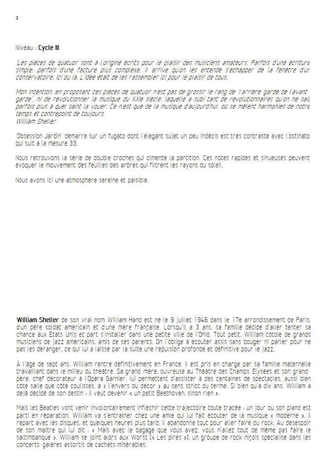 Obsession Jardin - Quatuor à Cordes - SHELLER W. - Fiche Pédagogique