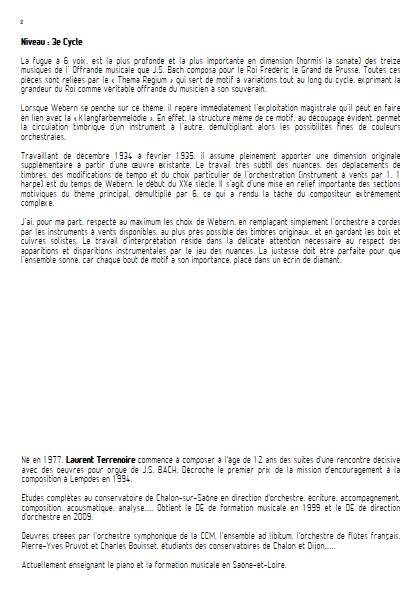L'Offrande Musicale - Orchestre d'Harmonie - BACH J.S. WEBERN A. - Fiche Pédagogique