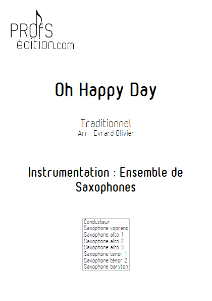 Oh happy Day - Ensemble de Saxophones - GOSPEL - page de garde