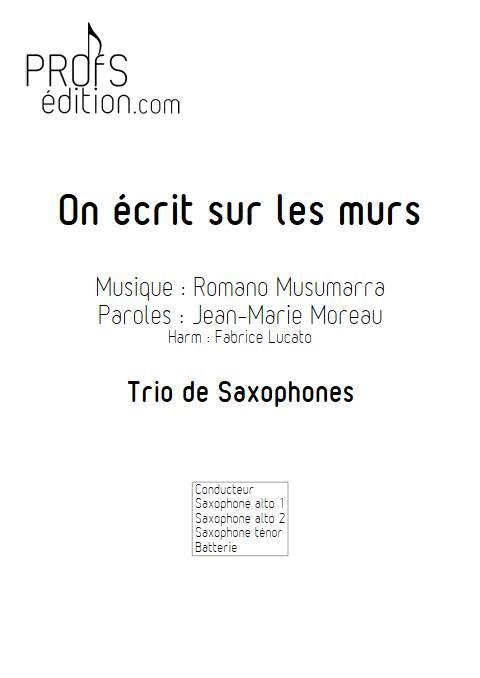 On écrit sur les murs - Trio de Saxophones - MUSUMARRA R. - page de garde