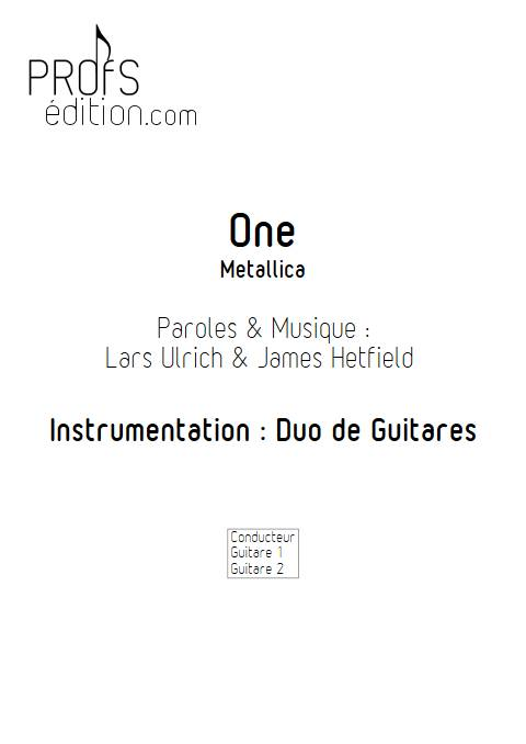 One - Duo de Guitares - METALLICA - page de garde